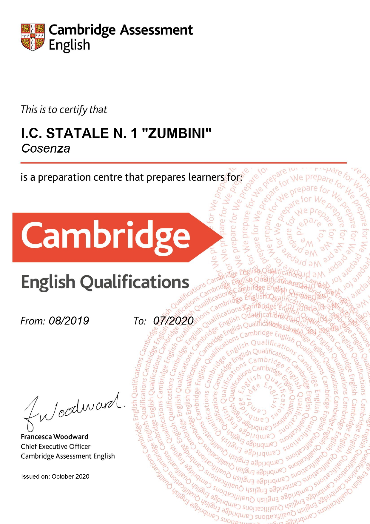 Certificato di Preparation Centre Cambridge